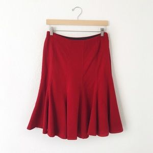 Zara Red Knee Length Wool Trumpet Midi Skirt
